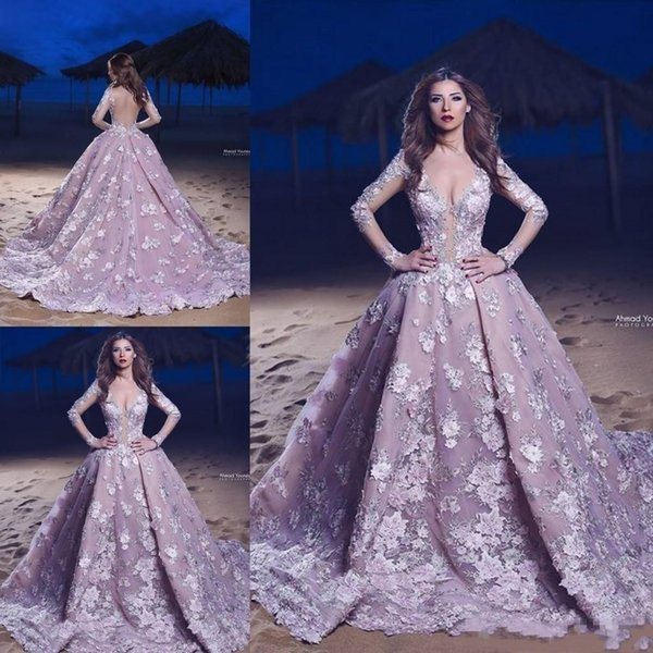2019 Lavender Backless Arabic Evening Gowns Beaded Plunging Neck Long Sleeve Ball Gown Prom Dress Lace Applique
