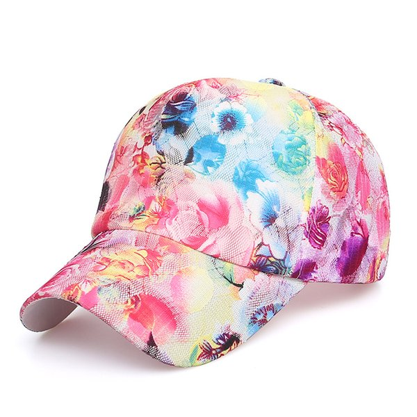 Summer Women s Fashion Casual Sunscreen Breathable Flower Print Lace  Baseball Cap Snapback Female Mesh Hat Summer Flower Cap 606a53241e7e