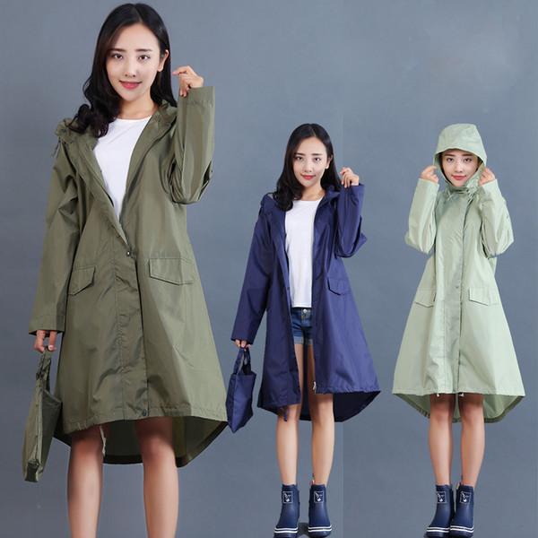 top popular Raincoat Women 2018 Fashion Ladies Rain Coat Breathable Ladies Long Raincoats Portable Water-Repellent Raincoat Women 2019