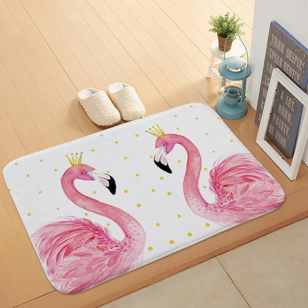 400 MM x 600 MM Kreative Flamingo Muster Badematte Küche Bad Boden Tür Matte Super saugfähigen rutschfeste Weiche Flanell Badematten