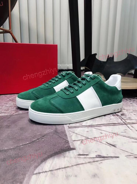 top popular 2019 Mens Womens Luxury Designers Casual Shoes Velvet Red Green Deep Blue Colors Beautiful Platform Brand Casual Sneakers With Best Qualily 2019