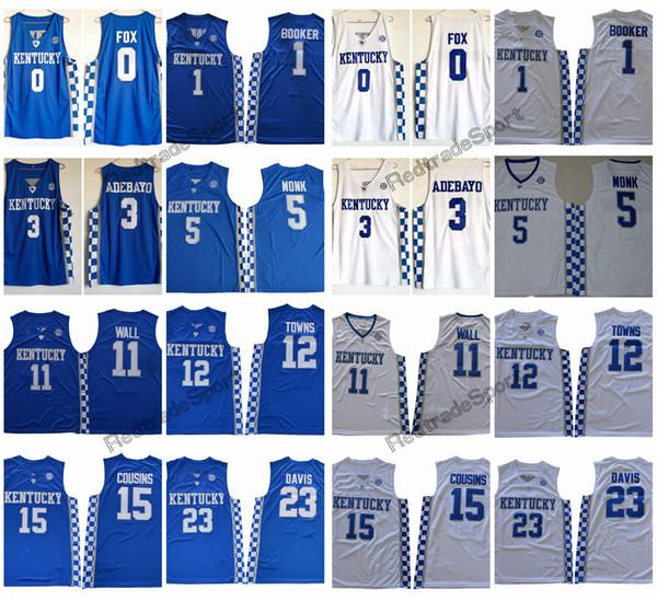 Kentucky Wildcats 5 Malik Monk 3 Adebayo 0 Fox 1 Devin Booker 11 John Wall  12 Towns 15 Cousins 23 Anthony Davis College Basketball Jersey 7b51f6fc2