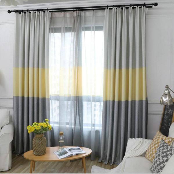 best selling Nordic Modern Gradient Blackout Curtains for Living Room Decorative Three Colors Fabric Bedroom Curtain Window Shades Panel