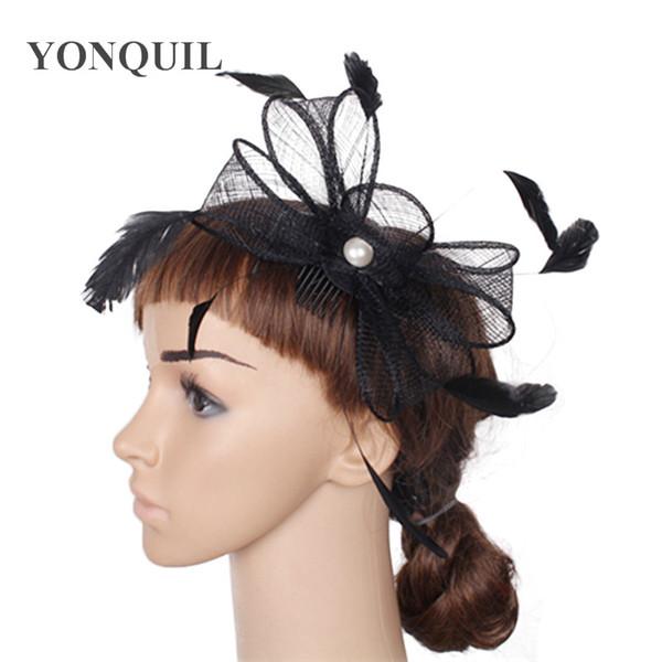 Noir Rouge sinamay femmes vintage arc fascinateur mariage chapeaux thé parti peignes à cheveux accessoires femme ivoire plume fedora chapeaux SYF08
