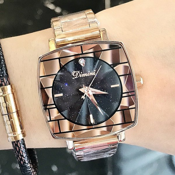 DIMINI Watch New Ladies Watch Starry Square Stripes Female Models Fashion Rose Gold Women's Watch Stainless Steel Strap Watches