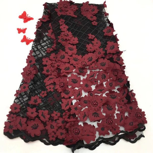 NEW African Lace Fabric red and black High Quality Flower 3D Applique Heavy Beaded Bridal Lace Fabric For Nigerian Handmade Lace