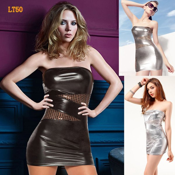 New Leather Sexy Lingerie Hot Latex Sexy Outfit Erotic Peephole Pvc Dress Up Sex Costume Lenceria Wrapped Short Dress For Women 2018