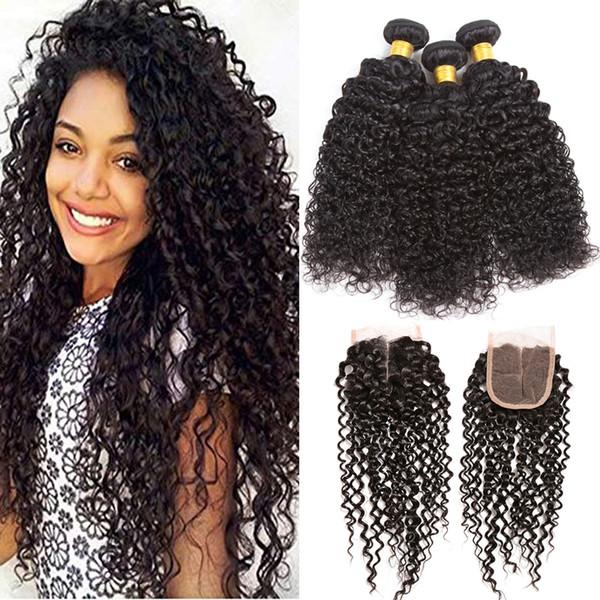 Rohes reines indisches Haar gerade 3 Bundles mit 4x4 Spitze Verschluss 8A unverarbeitete indische Remy Menschenhaar spinnt Körperwelle und lockiges Haar