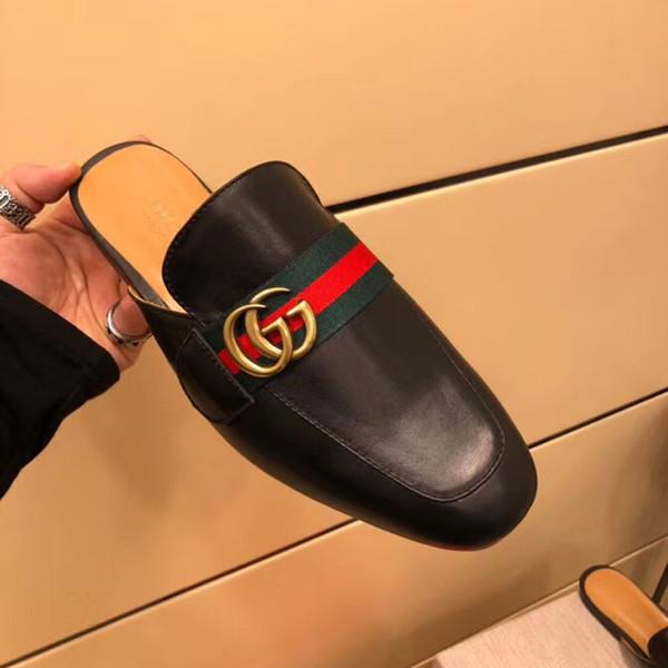 Toptan-erkek moda yaz terlik tasarımcı nefes yarım terlik rahat düz ayakkabı deri sandalet metal toka erkekler terlik bo