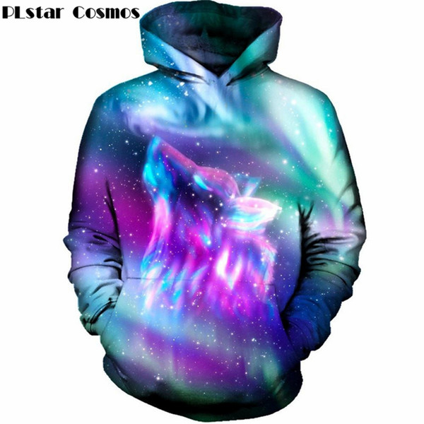 Espaço galaxy space galaxy homens lobo / mulheres 2018 moletom com capuz camisola nova moda hip hop sportswear 3d hoodies