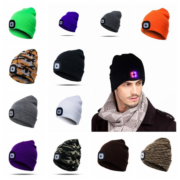 17 Colors LED Light Hat Battery Type Winter Beanies Fishing Camping Cap Knitted Hat Camping Outdoor Crochet Hat Party Favor MMA774
