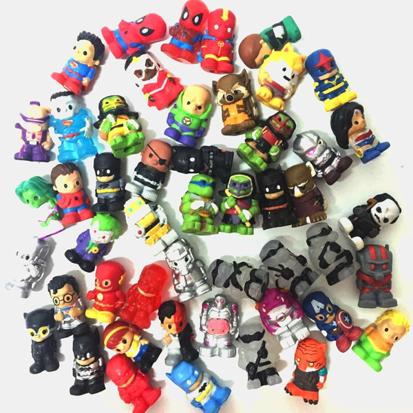 Lot10Pcs/Set Ooshies Ooshie Pencil Toppers DC Comics/Marvel Action Figure Collection Kids Toy Doll Gift Xmas Gift Party Decoration