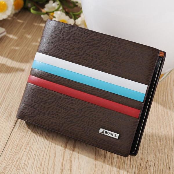 Новые мужские кошельки толстые полосы волна мягкая классическая мода повседневная короткие портмоне кожа мужской карты держатель мужчины бумажник