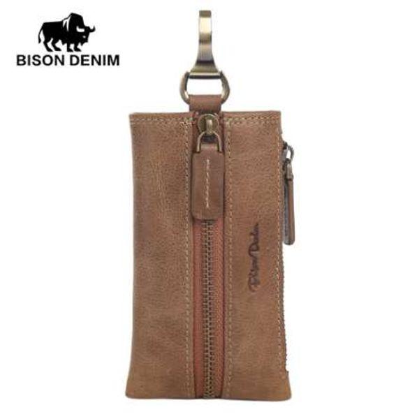 BISON DENIM Multifunctional Key Wallet Holder Leather Men/Women Keychain Bag Vintage Card Key Holder Portable Organizer W9342