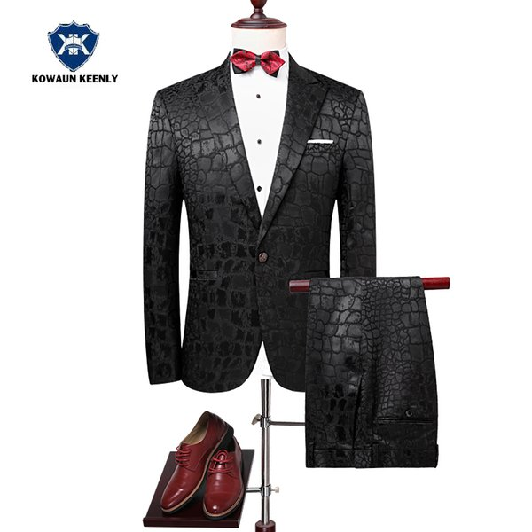 Mens Suits for Wedding Groom Suit Slim Fit Tuxedos Black Party Blazer Sequin Floral Stage Wear Singer Suit Set Prom Costume