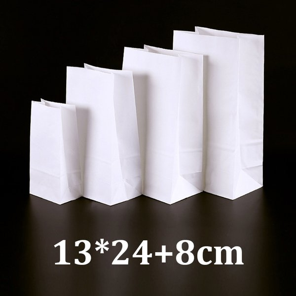 13x24cm eco-friendly food grade packaging white kraft bread paper bag