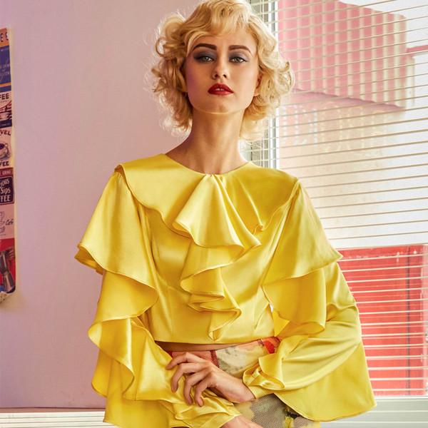 Camicette camicette donna Clocolor 2018 new fashion plus size top volant camicie eleganti camicie gialle con cerniera gialle