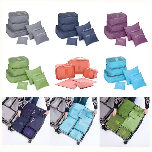 6 PCS / Set Folding Praça Bagageira Bags Clothes Underware Bolsa de Organizador de Viagens impermeáveis Homens Mulheres Nylon Bolsas de viagem