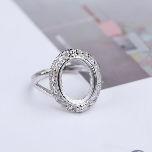 925 Sterling Silver 10x13mm Oval Cabochon Semi Mount Ring Engagement Wedding Ring Setting DIY Stone Vintage