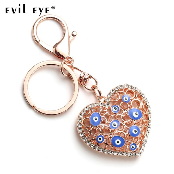 Evil Eye Free Shipping 2018 Fashion Alloy Heart-shaped Charm Car Keychain Jewelry Pendant With BULE EVIL EYE BEADs EY4821