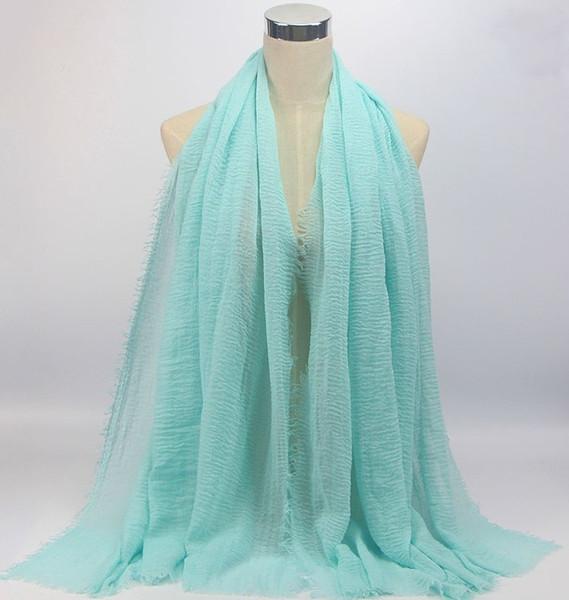 Algodão monocromático e lenço de cânhamo Novo Lenço De Franjas Cachecol De Wrinkle Popular Headclothes Estilo Quente Multicolor Opcional