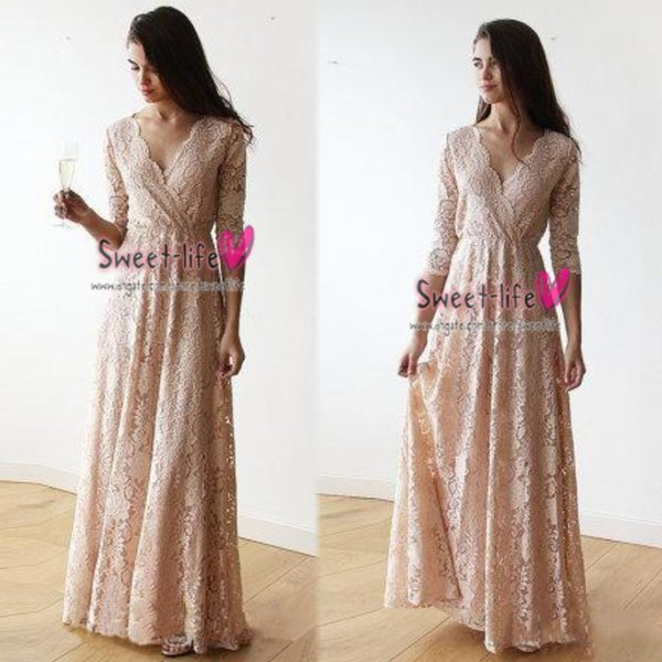 Vintage Ladies Pink Lace Long Sleeves Bridesmaid Dresses V-neck Full length Party Wedding Dress Guest Dinner Prom Gown