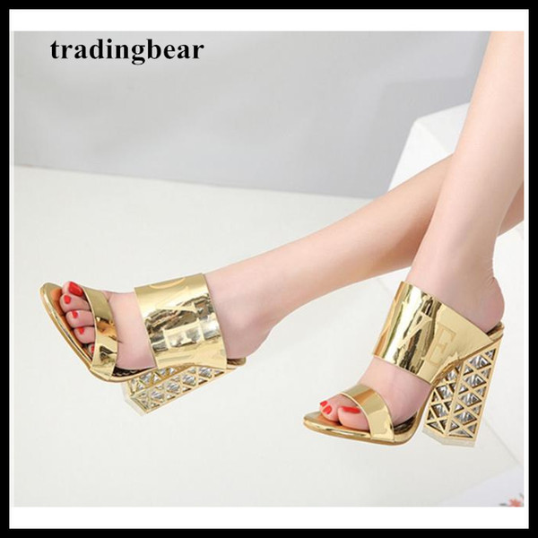 12cm Glitter gold champagne thick heel open toe slipper shoes women summer shoes size 34 to 40