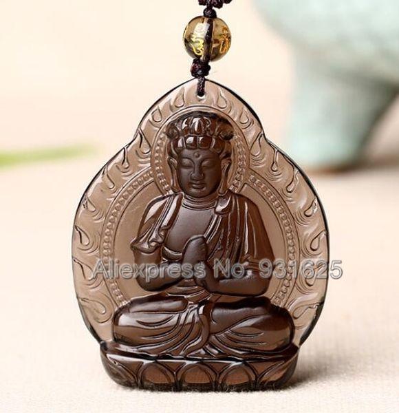 Natürlicher Eis klarer Obsidian geschnitzter chinesischer Buddhismus DaRiRuLai Buddha glückliches Amulett Anhänger + schwarze Korn-Halsketten-Art- und Weiseschmucksachen