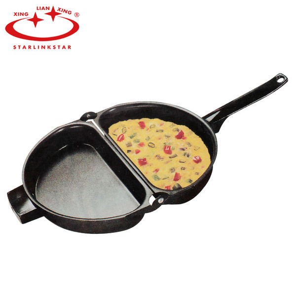 Unique Design Non -Stick Folding Omelette Pan Hand Frying Pan Folding Pot Kitchen Stainless Iron Double Side Grill Pan 23 *14cm