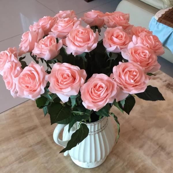 High artificial moisturizing feel rubber rose flower home living room DIY decoration fake flower wedding bouquet photo scene props