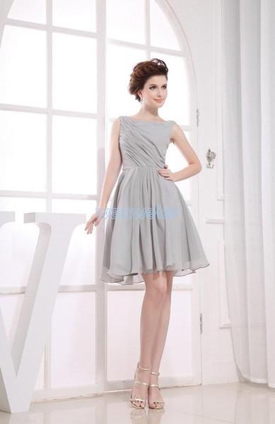 free shipping 2018 hot new short bargain price vestido de noiva light grey concise prom party eggplant bridesmaid dresses