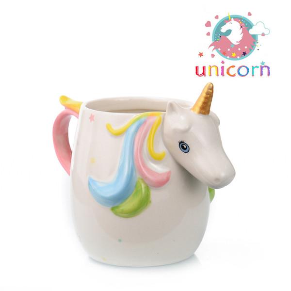 Cadeau de Saint Valentin Creative 3D Licorne Tasses Céramique Tasses d'Eau de Café pour Garçon Fille Tasses de Dessin Animé Mignon pour Couple