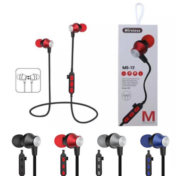 MS-T2 Auriculares Bluetooth A prueba de sudor Auriculares deportivos Auriculares inalámbricos Bluetooth Tarjeta TF Atracción magnética Auriculares para iphone x 8 samsung