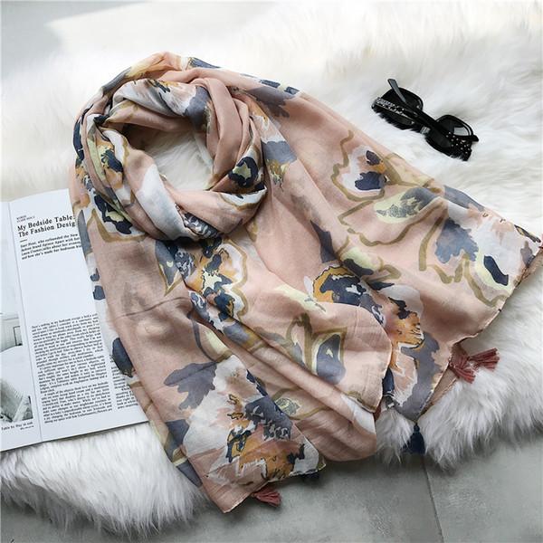 2018 New Pink Ombre Floral Pattern Tassel Scarves Shawls Women Flower Print Tassel Wrap Muffler Hijab Wholesale 10pcs/lot