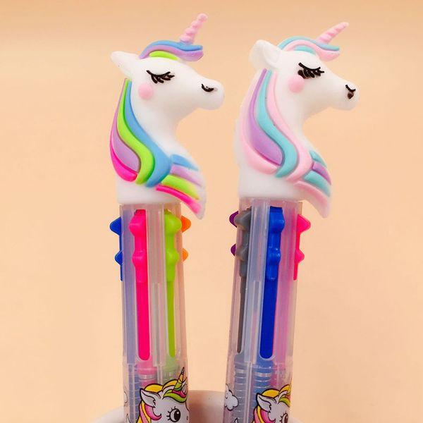 top popular 1PC Unicorn Cartoon 6 Colors Chunky Ballpoint Pen School Office Supply Gift Stationery Papelaria Escolar 2019