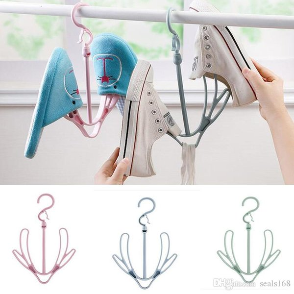 Double Hook Hanging Shoe Rack 360° Rotating Hangers For Clothing Ties Hats Scarves Storage Rack Shelf HH7-1056