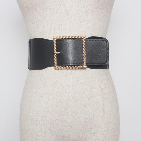 Cinturón Mujeres 2018 moda de Alta Calidad de Cuero de LA PU Sólido Negro  Rojo Ancho de Lujo Cintura Elástica Femenina Cintura Cinturón para Mujer  Vestido b914d671b548