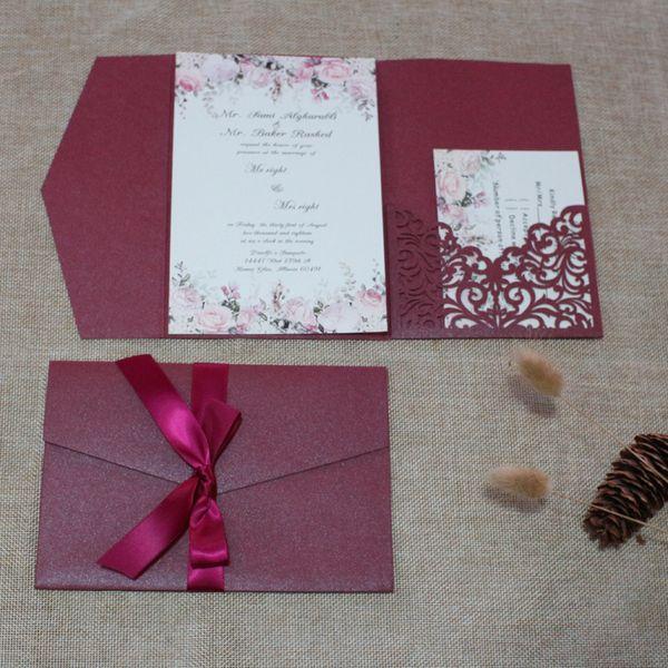 2019 Marsala Burgundy Wedding Invites Luxury Laser Cut Shimmy Trifold Pocket Wedding Invitations with Ribbon, Free Shipping Free Printing