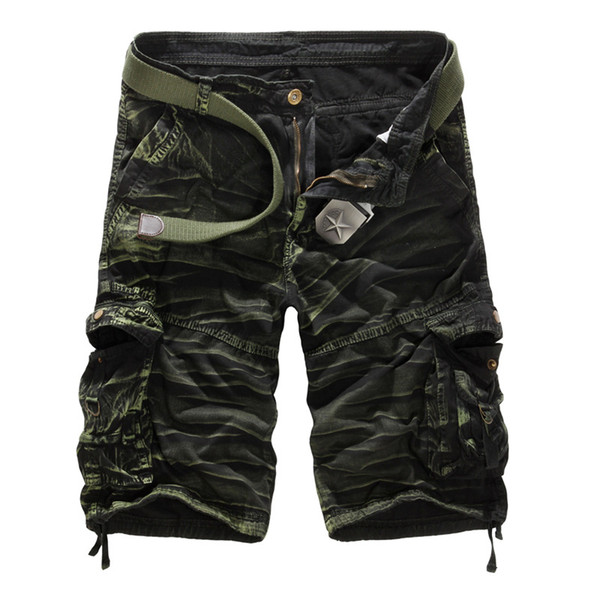 Men Camouflage Cargo Shorts Brand Male Army Loose Cargo Pants Men Casual Work Short Pants Plus Size No Belt