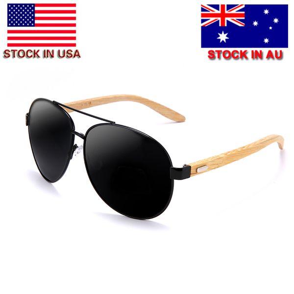 09503e733 Piloto Moda Óculos Polarizados Óculos De Sol Dos Homens de Bambu Óculos de  Sol Das Mulheres