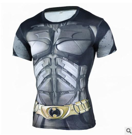 2018 marvel batman compression shirt fitness tights crossfit quick dry short sleeve t shirt Summer Men tee tops clothing