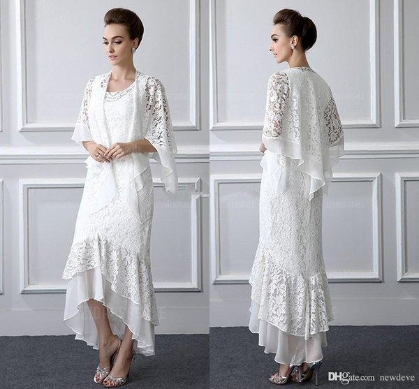 High Low Mermaid Mother Of The Bride Dresses With Shawl Lace Elegant 2018 White Women Formal Evening Gowns