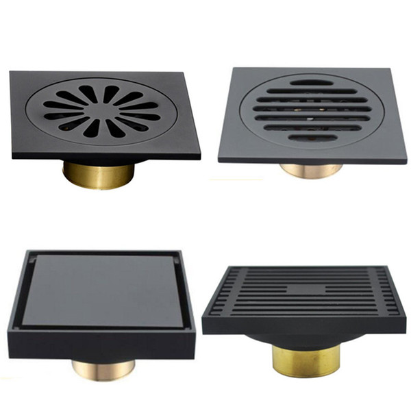 Modern Pure Black Invisible Shower Floor Drain /Bathroom Balcony Use Brass Material Rapid Drainage Tile Insert Square Drains
