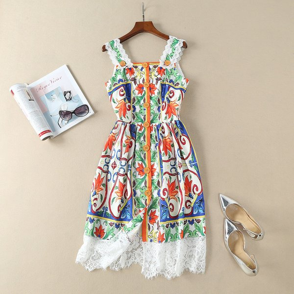 2b5feb693a604 2019 Sweet Sicily Porcelain Tile Print Dress Patchwork Lace Spaghetti Strap  Cute Orange Buttons Front A Line Summer Dresses New 2018 From Maluokui, ...