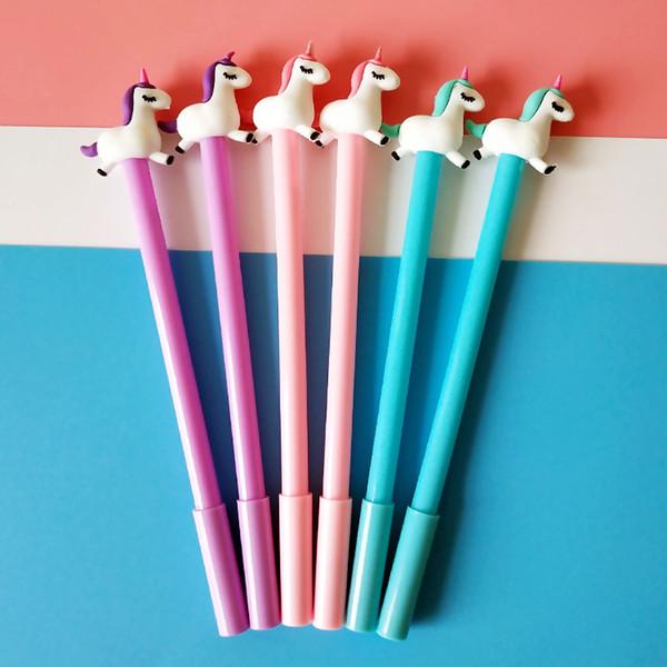 48pcs/lot cute cartoon Korean unicorn doll lovely style gel pen unisex pen water ink sign office school girls stationery