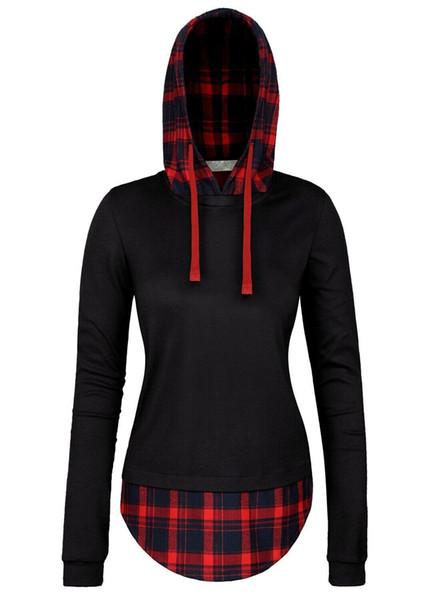 2016 Fashion Women Winter Spring Women Hoodies Sweatshirts Outwear Coat Sportswear Plaid Hoodies Women