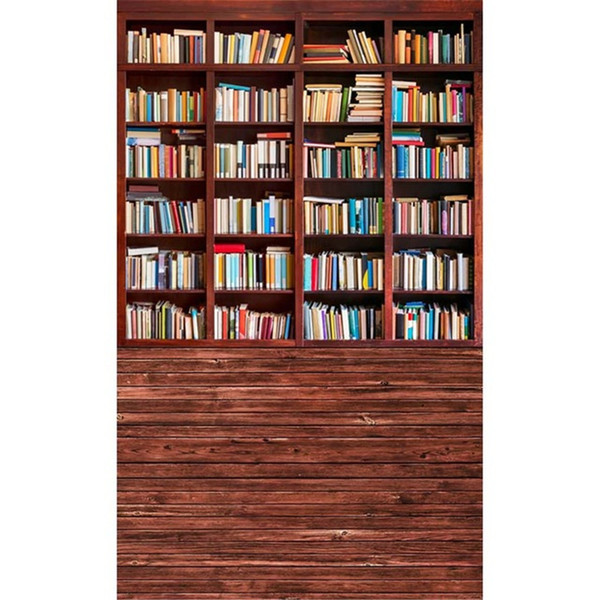 Graduation Season Vintage Wooden Bookshelf Photography Backdrops Wood Floor Digital Printed Books Retro Style Children Kids Photo Background