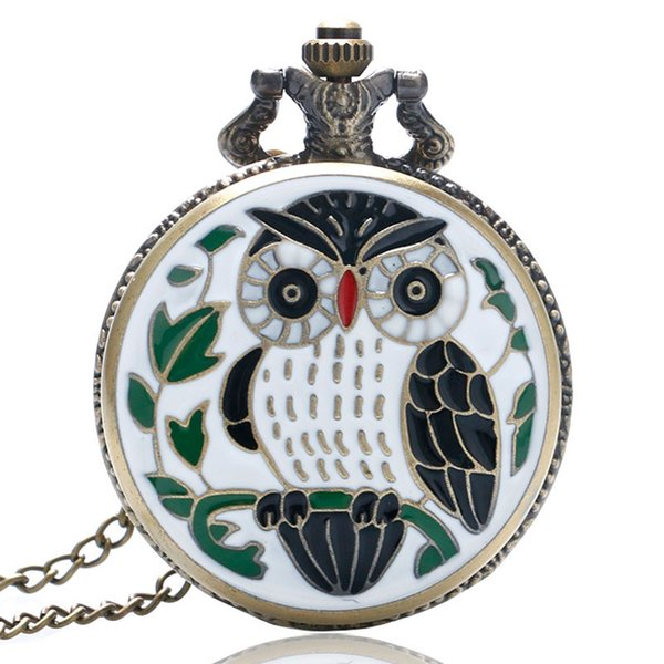 Animal Cartoon Owl Painting Pocket Watch for Men Women Epoxy Small Lovely Slim Necklace Cute Girl Vintage Clock Gifts