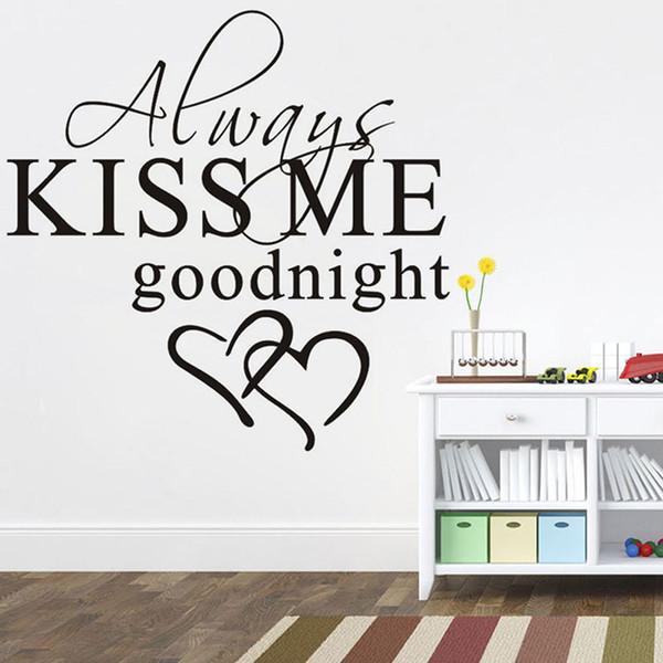 Acquista Sempre Baciami Buonanotte Romantico Murale Amore Vinile Adesivi Murali Camera Da Letto Citazioni Decalcomanie Decorazione Della Casa