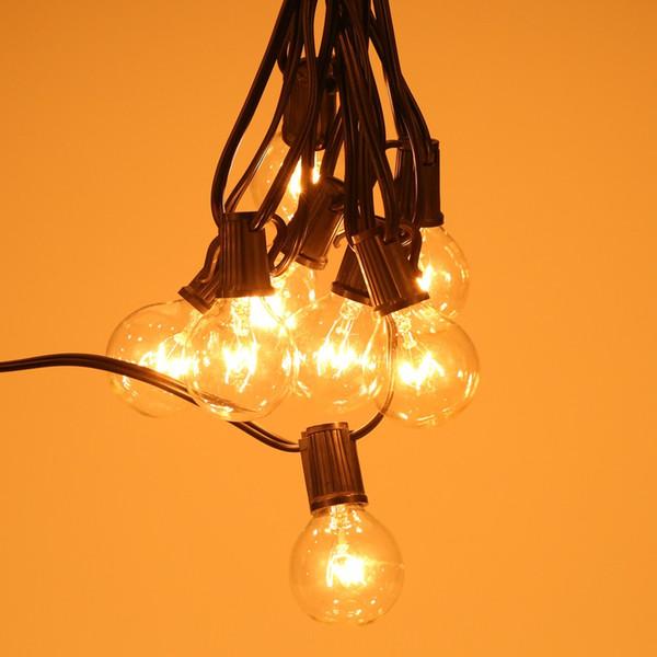 Navidad Patio Globe Bombilla String Light G40 con 25Clear Vintage Bombillas Cadenas Luces de interior / exterior Lámpara colgante Patio trasero Decoración de guirnaldas